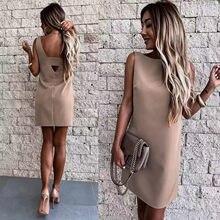 Jednokolorowe suknie wieczorowe Casual bez rękawów Backless Mini Sukienka lato O Neck Sundress Femme szata Sukienka Vestido szaty