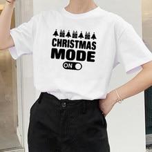 Tryb świąteczny na koszulki z nadrukiem damskie lato 2020 estetyczna moda z najwyższej półki koszulki z okrągłym wycięciem na szyi dla kobiet bawełniane koszulki z nadrukami damskie