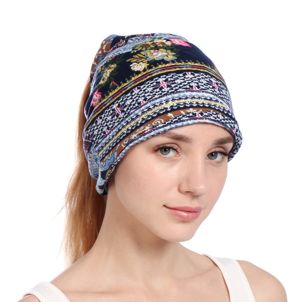 Elegant Soft Breathable Summer Floral Print Chemo Cancer Beanie Nightcap Muslim Islamic Hat Sleeping Cap Wholesale Bonnets