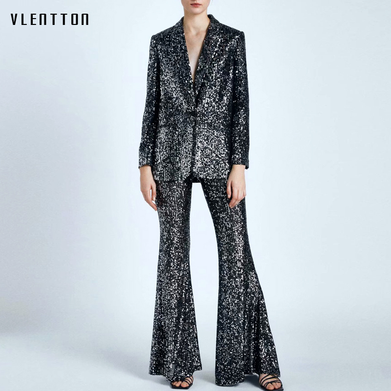 2020 Autumn Sexy V-Neck Women's Pants Suit Sequins Blazer Jacket Tops & Zipper Flare Trouser Office Ladies Two Piece Set Female