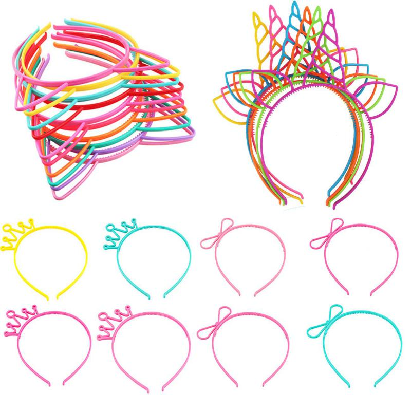 1pc Unicorn Cat Ears Headbands Baby Girl Kids Women Plastic Crown Hairbands Princess Sexy Halloween Easter Accessories Headwear