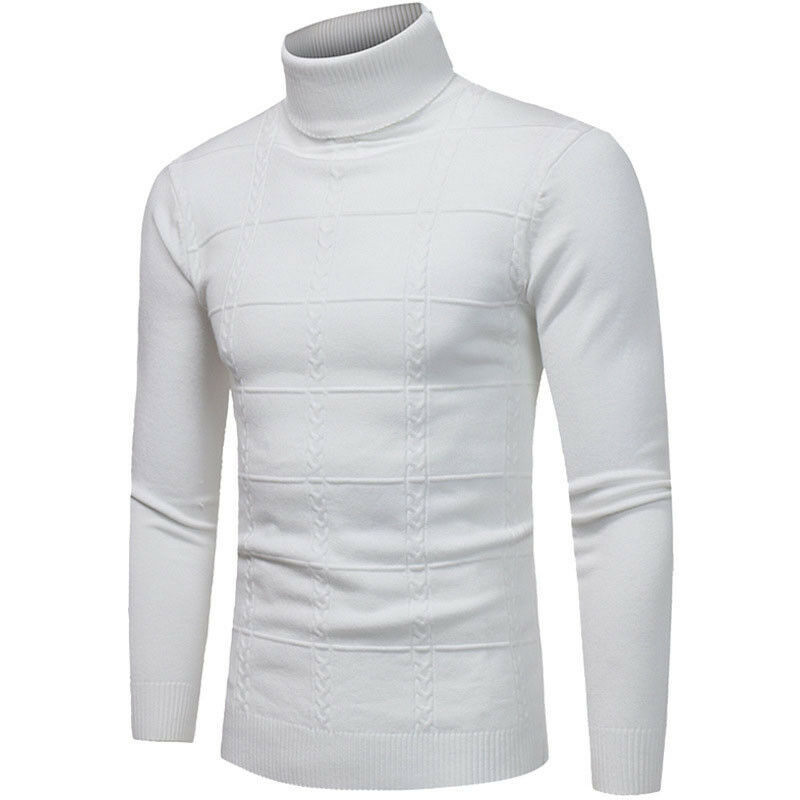 Men Casual Style Sweaters Full Sleeve Length Pullovers Item Type Solid Pattern Turtleneck Collar Thick None Decoration