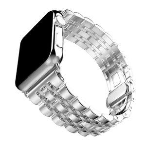 Image 2 - Zegarek ze stali nierdzewnej pasek na zegarek z jabłkiem 42mm 38mm 40mm 44mm metalowa bransoleta zapasowa do serii iWatch 6 SE 5 4 3 2 1