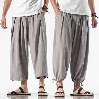 New Design Drawstring Harem Pants Men Baggy Jogging Pants Japanese Style Male Crotch Wide Leg Pants Casual Loose Trousers fashion cotton linen harem pants men baggy pants japanese style mens crotch wide leg pants casual loose boho trousers