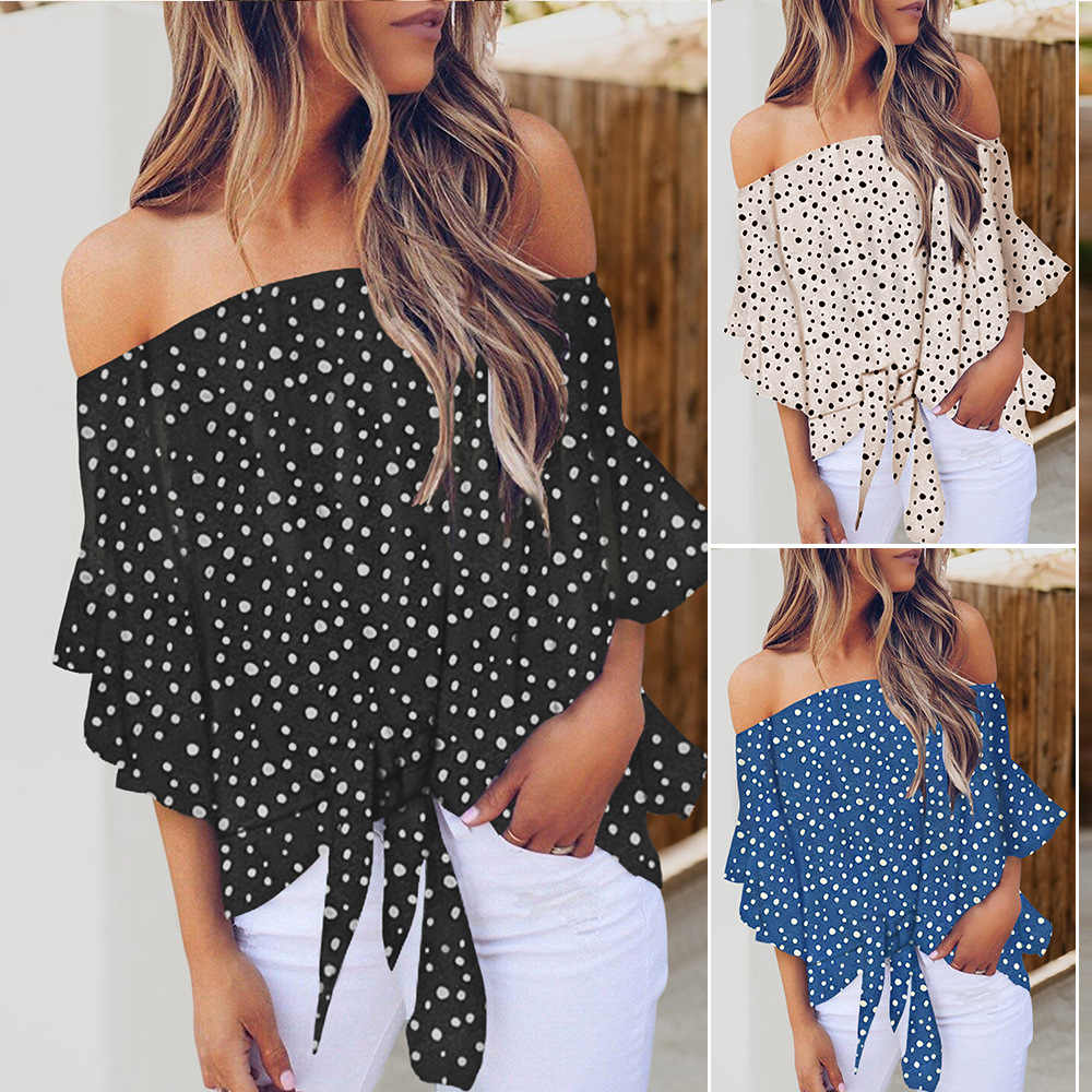 Polka Dot 3/4 Bell Mouwen Off Shoulder Voor Tie Knot Top Strapless Dot Hoodie Mouwen Chiffon Blouse Dames Tops Shirts vrouwen