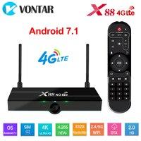X88 4g lte android 7.1 caixa de tv suporte 4g nano cartão sim 2gb 16gb rockchip wifi 4k google play store youtube conjunto caixa superior 4glte