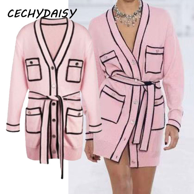Pink Long Sweater Cardigans Runway Fashion V-Neck Long Sleeve Pocket Elegant Christmas 2020 Clothes With Sashes Knitted Outwear 1