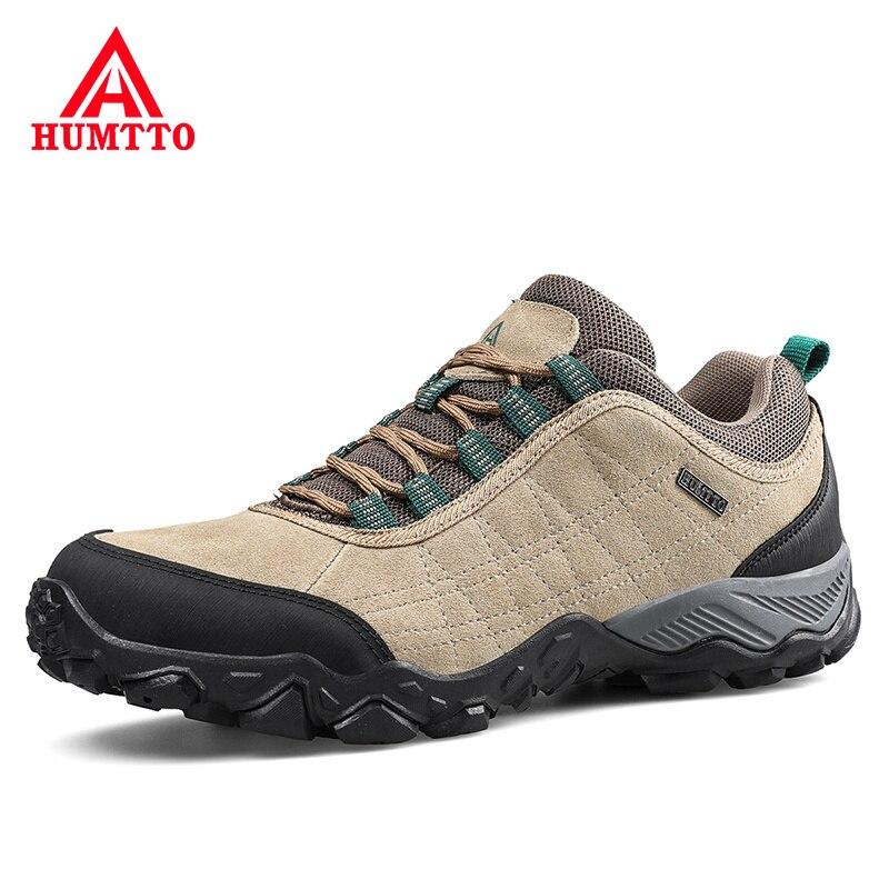 Humtto yeni varış deri yürüyüş ayakkabıları aşınmaya dayanıklı açık spor erkek ayakkabısı dantel-up erkek tırmanma Trekking avcılık ayakkabı