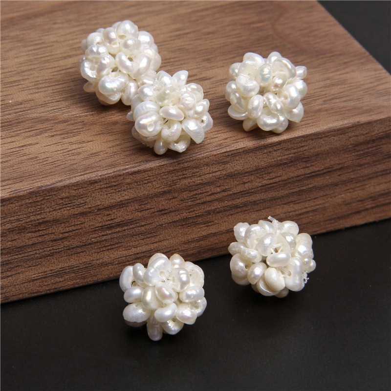 2-5Pc Natural 12-13 mm Freshwater Pearl Flower Ball Cultured Baroque White Pearls For DIY Making Wedding Women Necklace Bracelet