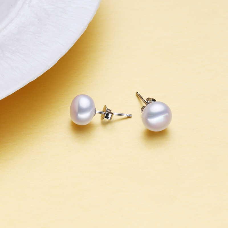 FENASY Pearl Jewelry Pearl Pendant Necklace Freshwater Earrings 925 Sterling Silver fashion Jewelry Sets stud earrings For Women
