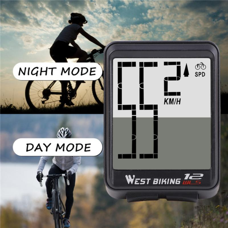 <font><b>Bike</b></font> <font><b>Speed</b></font> <font><b>Meter</b></font> Digital MTB Bicycle Wireless Large Character Code Table Large Screen English Waterproof Luminous Speedometer image