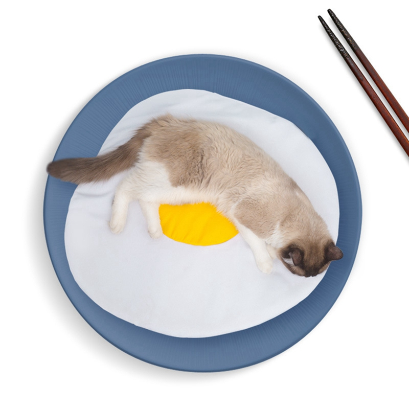 Yolk Design Omelette Pattern Pet Sleeping Mat Rest Cats Dogs Sleeping Bed Mat White Yellow Warm Nest Supplies NC
