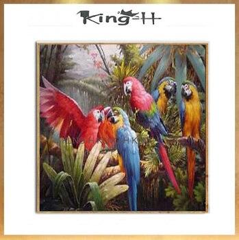 Lienzo colores pintura al óleo pájaros pinturas decorativas modernas para baño loro familia pintado a mano de alta calidad