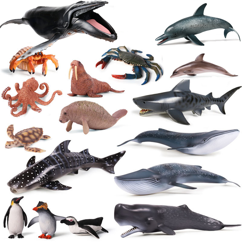 33 Styles Action&Toys Figure Ocean Marine World Animal Sea Life Shark Whale Dolphin Fish Collection Model Doll For Children Gift