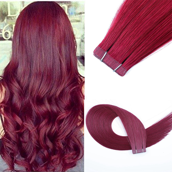 Leshine Tape In Human Hair Extensions Burg Highlight Color Real Remy Hair Extension Double Drawn Human Hair 20pcs Hair Tape