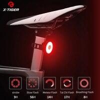 Luz trasera X-TIGER para bicicleta, recargable vía USB, resistente al agua, luz LED trasera para bicicleta, advertencia de seguridad, casco, mochila