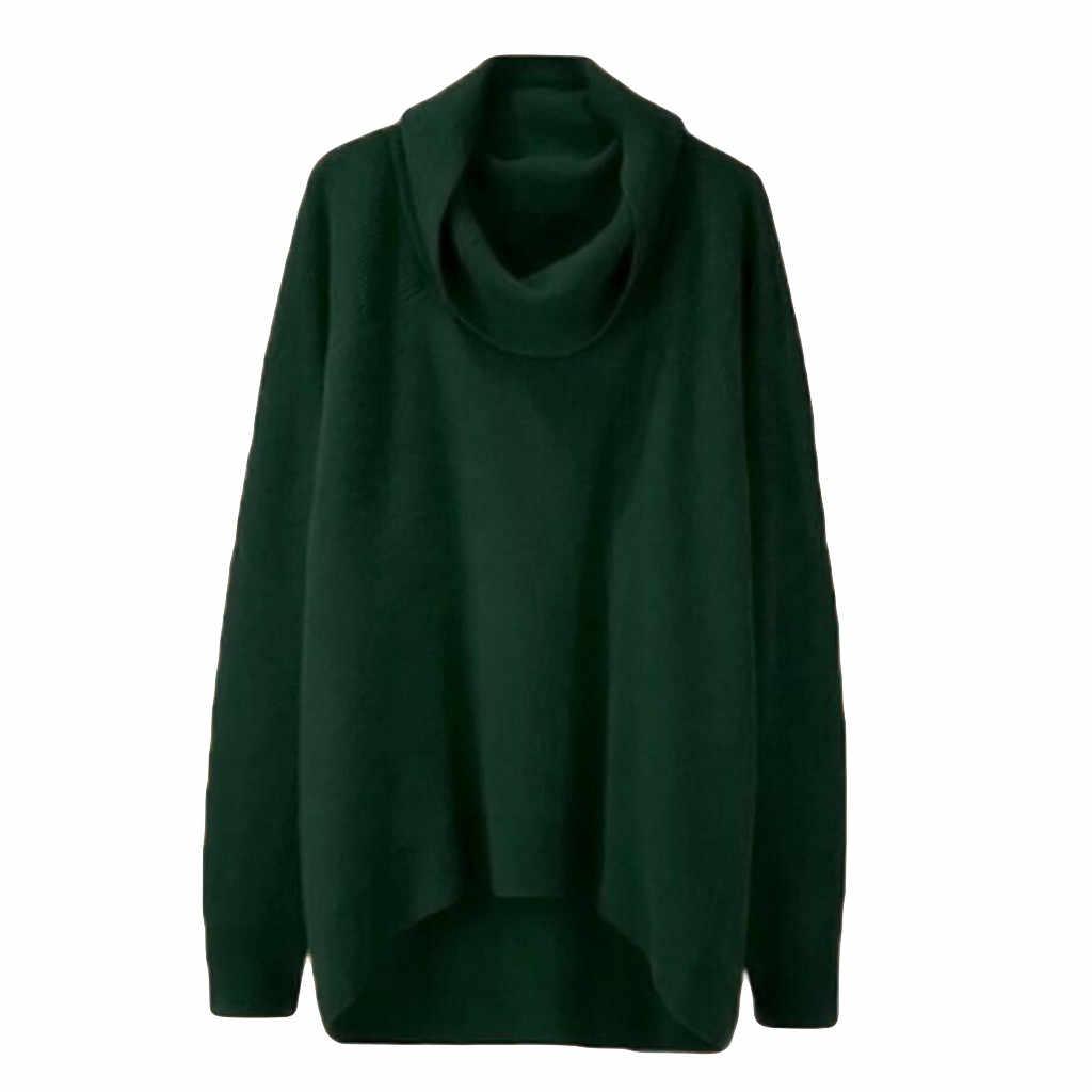 2019 새로운 겨울 높은 칼라 풀오버 솔리드 불규칙한 스웨터 여성 한국어 긴 소매 느슨한 얇은 분할 니트 스웨터 ##5