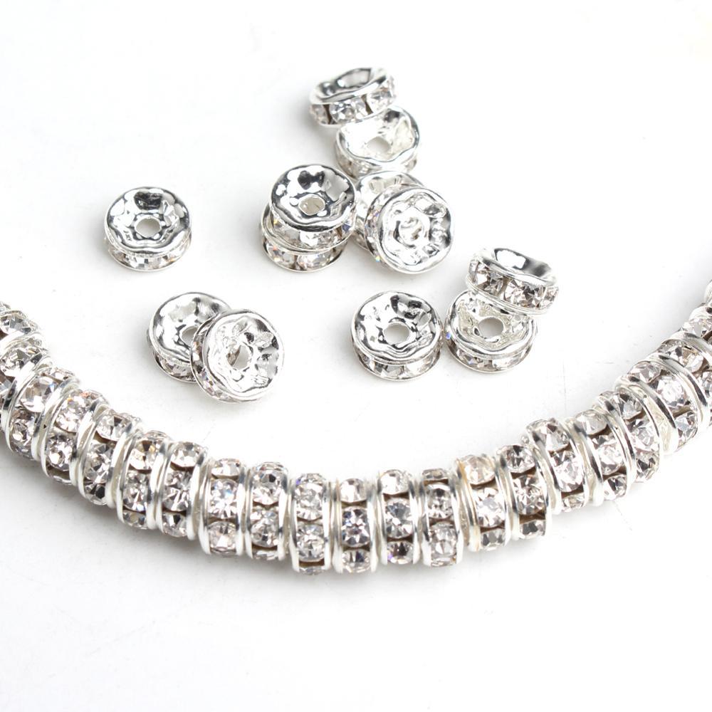 4/6/8mm 100 Pçs/lote Metal Branco Rhinestone Rondelle de Cristal Do Grânulo Frouxo Spacer Beads Para Fazer Jóias Diy Pulseiras Acessórios