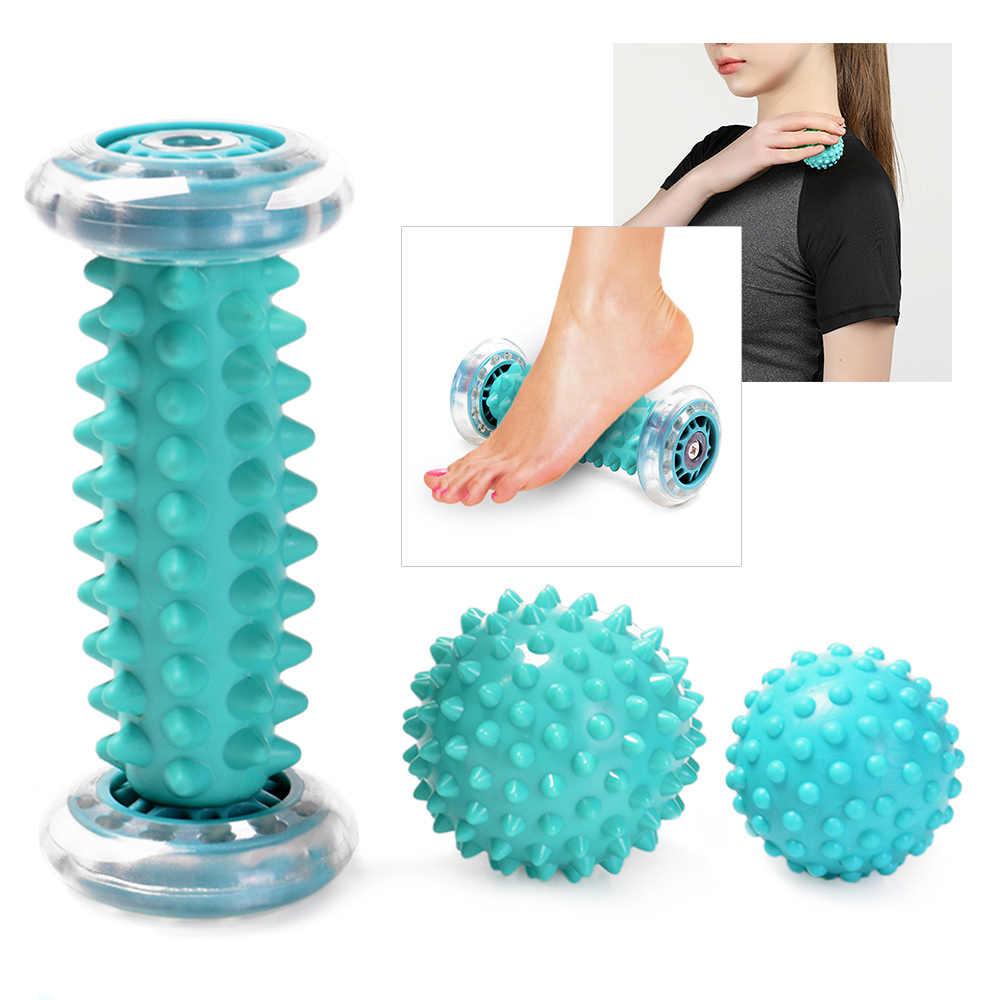 Fitness masaj aleti topu Plantar ayak masajı rulosu Spiky ile el bacak sırt ağrısı tedavisi derin doku tetik noktası kurtarma
