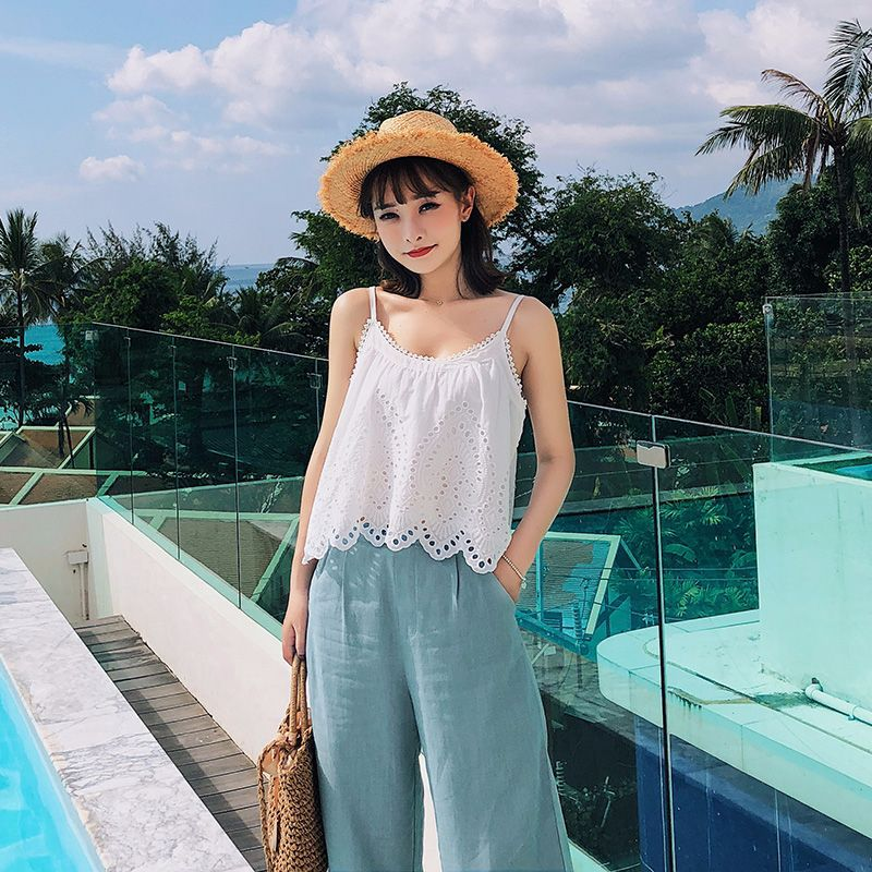 [Dowisi] Dongdaemun WOMEN'S Dress 2019 Summer New Style Sleeveless Dungaree Shirt + Capri Pants Set F6301