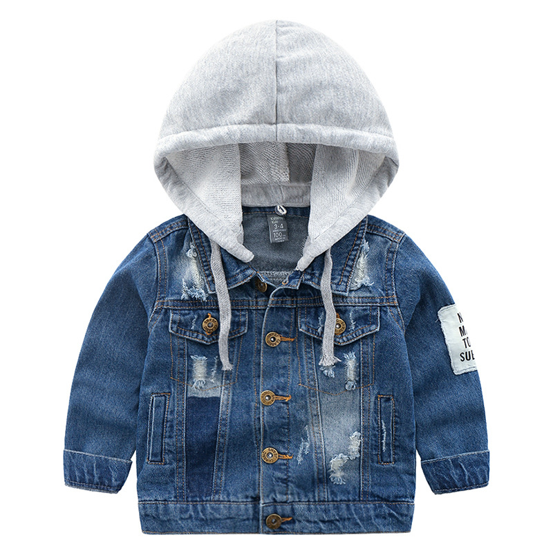 2019 New Denim Jackets Boys Spring Autumn Trench Children 39 s Clothing Hooded Outerwear Windbreaker Baby Kids Jeans Coats 4 8Y in Jackets amp Coats from Mother amp Kids
