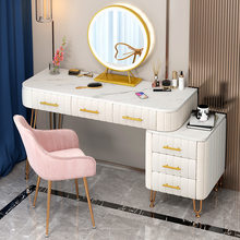 Luxury Dressing Table With Mirror Vanity Makeup Light Mirror Artificial Marble Desktop Velvet Drawers Bedroom Furniture Dresser
