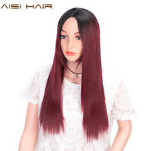 AISI HAIR Long Silky Straight Ombre Black to Red Wig Synthetic Hair Wigs for Black Women Cosplay Wigs Heat Resistant Fiber цена в Москве и Питере