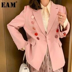 [EAM] Frauen Bunte Taste Split Joint Blazer Neue Revers Lange Hülse Lose Fit Jacke Mode Flut Frühling Herbst 2020 1Y669