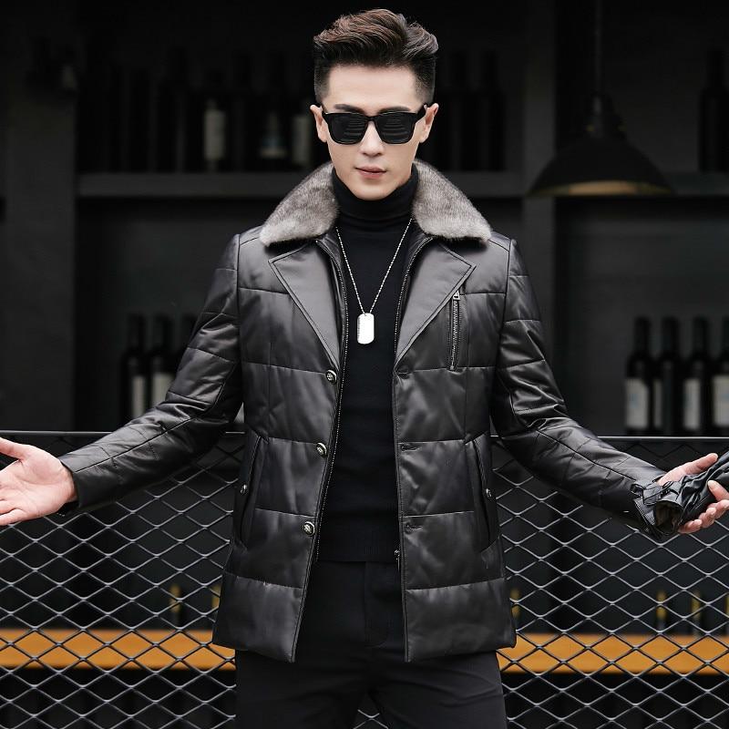 Genuine Leather Jacket Men Sheepskin Coat Real Mink Fur Collar Warm Duck Down Coat for Men Jaqueta Couro
