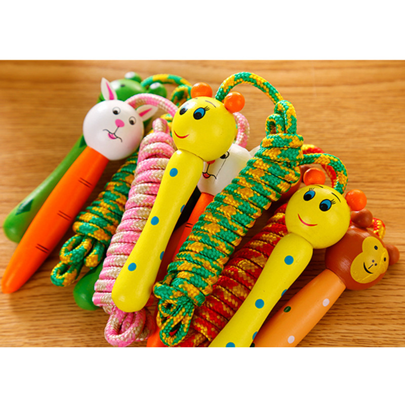 Children Jump Rope Kindergarten Young STUDENT'S Only Wear-Resistant Color Fitness Rope Beginner Wood Kids Toy