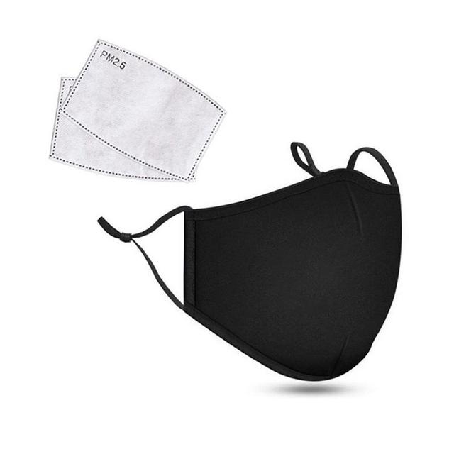 Black Face Mask PM2.5 Dust Mask With Replaceable Activated Carbon Gasket Reusable Protective Mask Mascarillas For Men Women 1