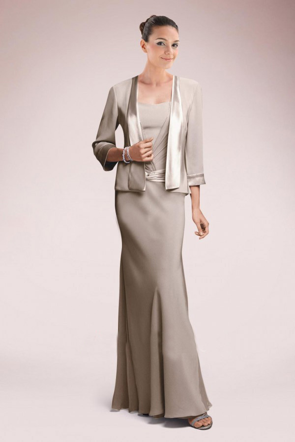 Sheath Floor-length Mother Dress Chiffon And Satin Sashes Mother Of The Bride Dresses With Jacket Two Pieces Women Dress