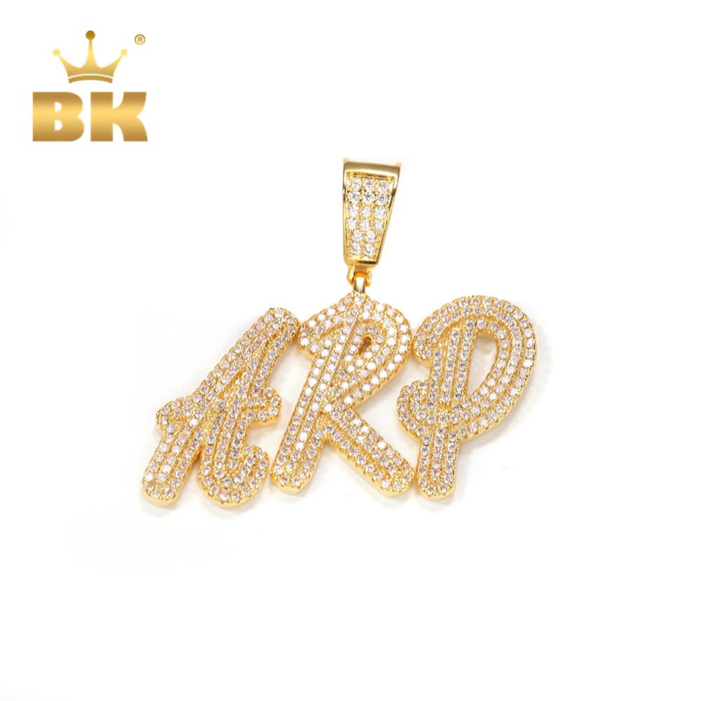 THE BLING KING Double-layer Overlapping Cursive Font Pendant Solid make Your Words Necklaces Zirconia Unisex Jewelry 2020 New