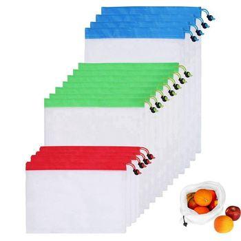 Bolsas de malla para compras almacenaje de alimentos vegetales (3 tamaños diferentes) (15 Uds.