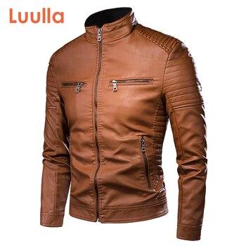 Luulla Men Spring Brand New Causal Vintage Leather Jacket Coat Men Outfit Design Motor Biker Zip Pocket PU Leather Jacket Men 1