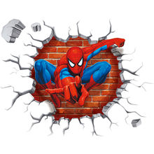Super hero Spider Man broken wall to kids room the Avengers 3d vinyl stickers boy bedroom decoration marvel poster 50*45cm(China)