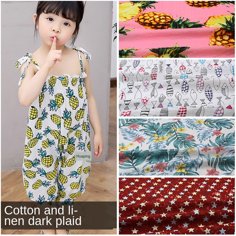 Cotton Cloth Material DIY For Making Clothes Curtain Table Plain Cotton Fabric Clothing Fabric Casual Plant Printed Accessories