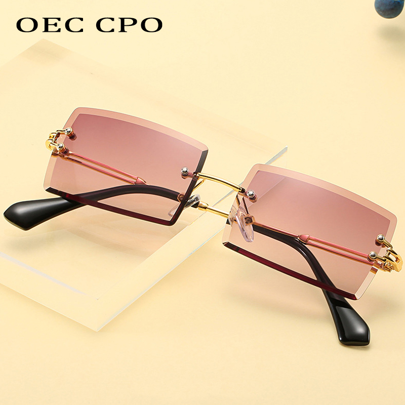 OEC CPO Fashion Popular Rimless Rectangle Sunglasses Women Men Shades Alloy Glasses UV400 O264