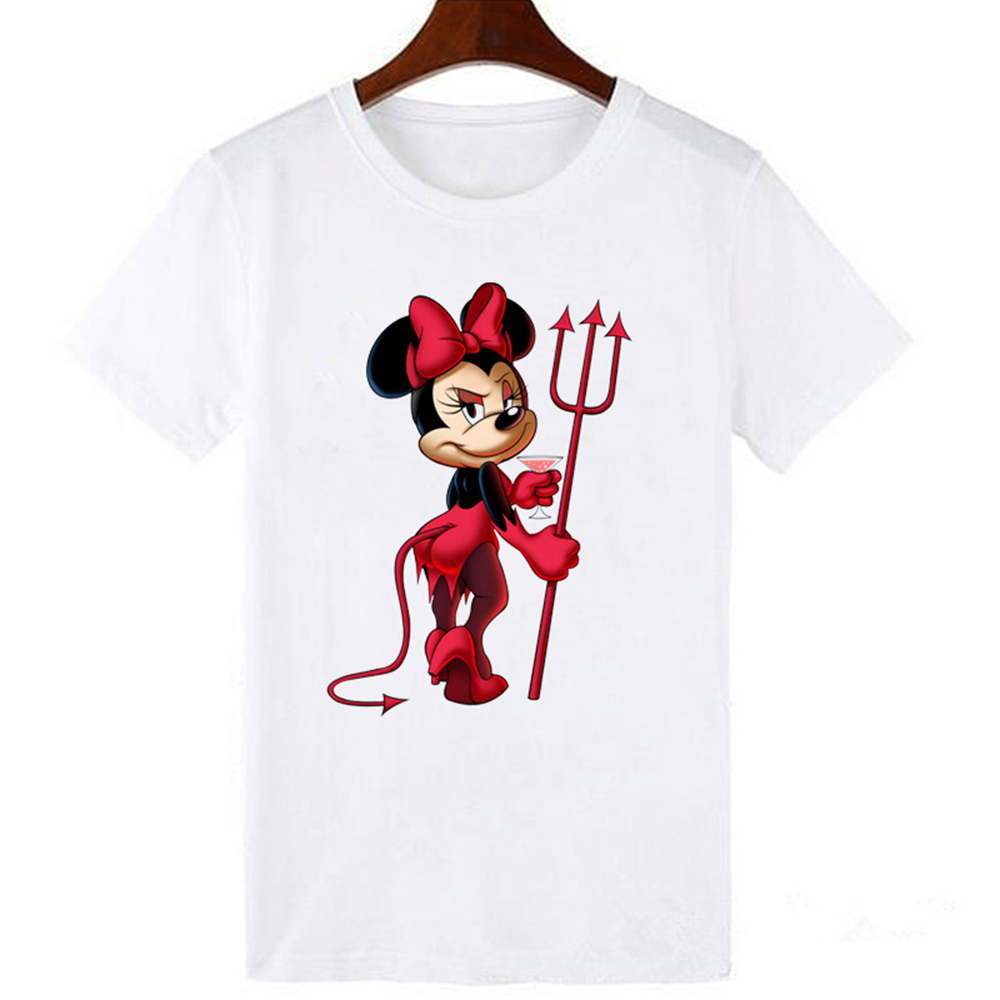 LUCKYROLL Devil Minnie Mouse Print T Shirts Women Tees Casual O-Neck Short Sleeve Harajuku Cool T-shirt Female Tops