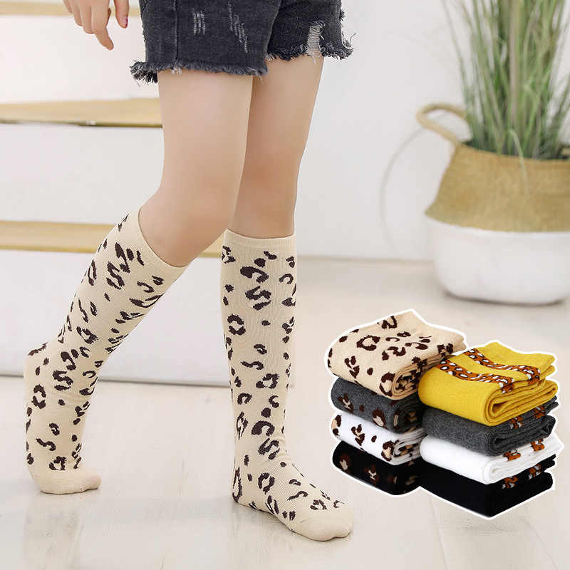Autumn Winter Girls Knee High Socks Leopard Print Striped Soft Leg Warmers Cotton Long Socks Boys Girls Socks for Children 2-12Y