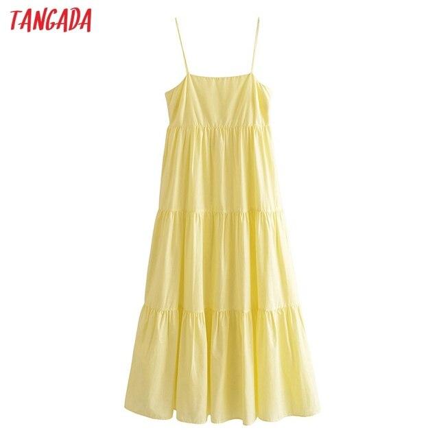 Tangada Women Solid Yellow Cotton  Long Dress Strap Sleeveless Side Zipper 2021 Fashion Lady Elegant Dresses Vestido 3H319 1