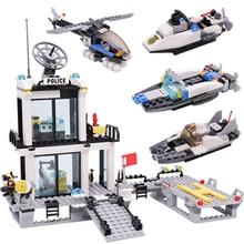536pcs тюрьму полицейского участка грузовиков строительные блоки автомобилей лодка вертолет полицейский кирпичи дети DIY собрать игрушки подарки