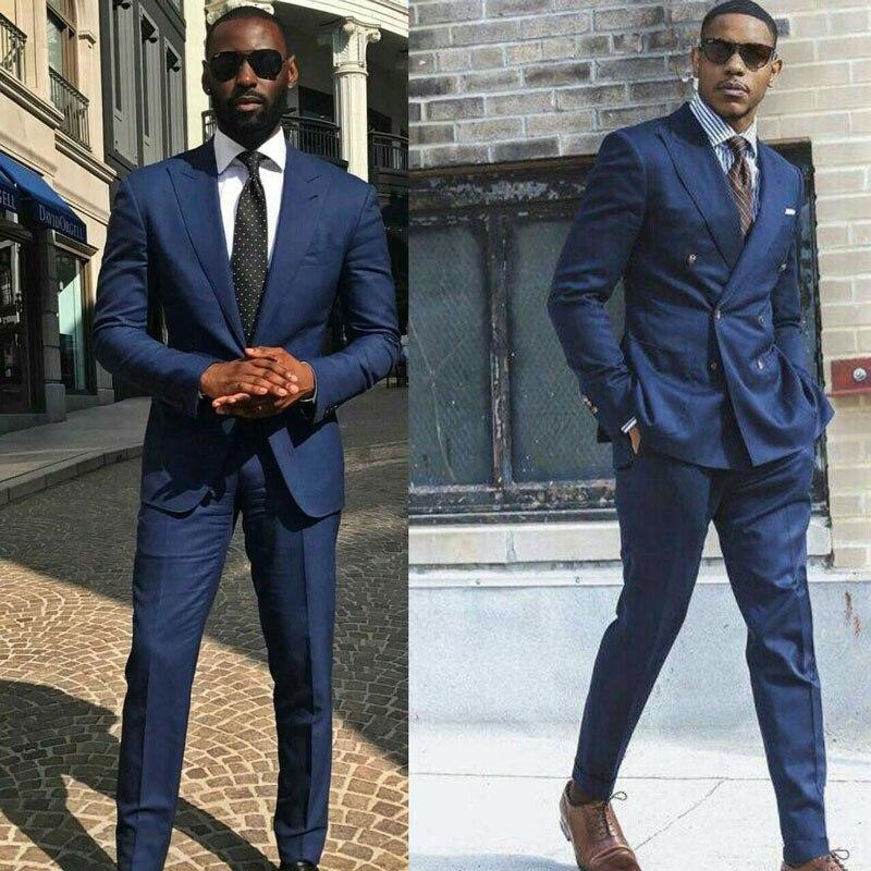 Peak Design Casual Blue Suits Men 2019 Prom Party Business Man Blazer  Slim Trajes De Hombre Costume Homme Terno Masculino