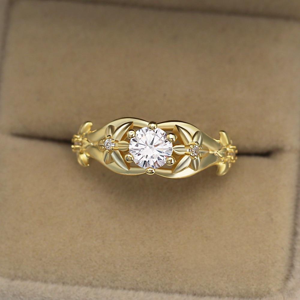 Moda aaa + zircônia cúbica anéis de instrução para as mulheres cor do ouro amarelo casamento bandas jóias presentes das senhoras 2019 novo