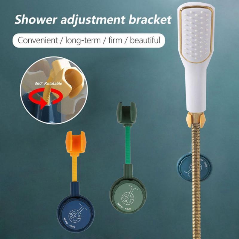 Регулируемый кронштейн для душа в ванную комнату, бесшовная душевая стойка с фиксированным основанием, крючки, креативная портативная полк...