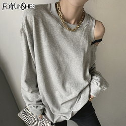 2021 Spring Autumn New Sexy Off-Shoulder Long Sleeve Pullovers Women O neck Loose Gray Sweatshirt Athleisure Fashion Top