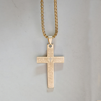 Christian Lord's Prayer Bible Cross Pendant Necklace Christmas Gift Gold Color Stainless Steel Religious Jewelry Dropshipping image