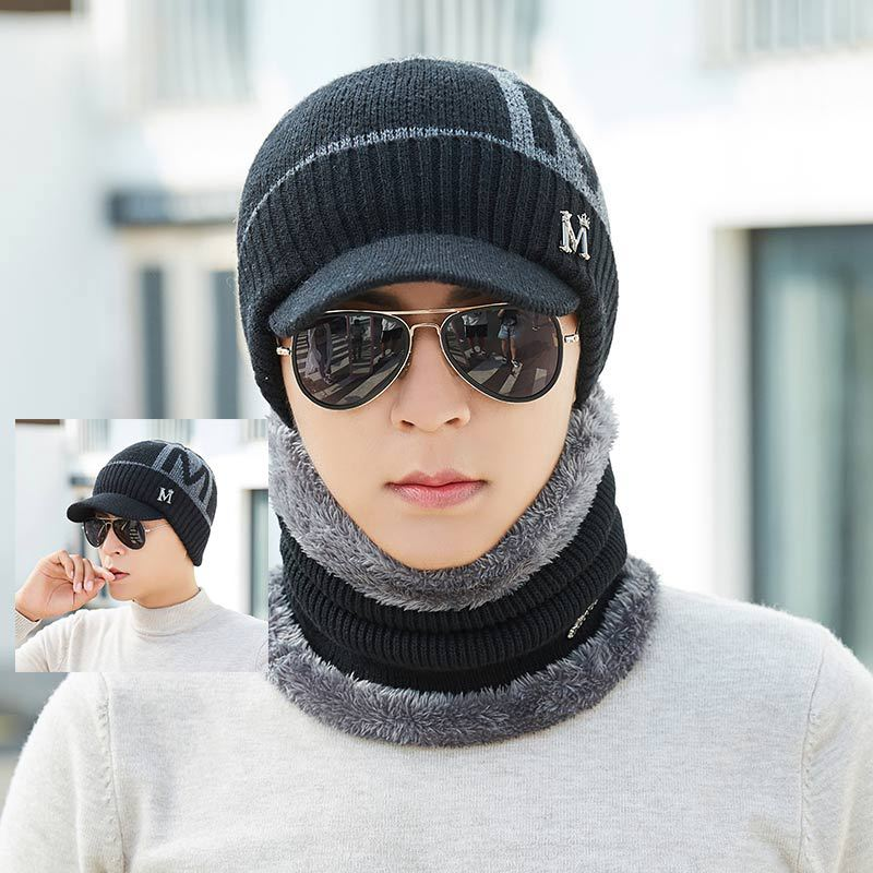 Kitted Winter Hat And Scarf Set Men Women Thicken Wool Skullies Beains Hat Ring Scarf Female Hats Keep Warm