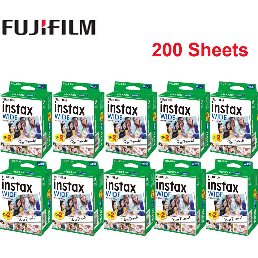 Fujifilm largura 20-200 folhas instax filme 86*108mm/3.4 * 4.3in filme instantâneo foto papel para instax wide300 câmera instantânea