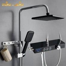 Juego de ducha de temperatura constante, negro, nórdico, soporte para ducha de baño, ducha de baño con pantalla de temperatura